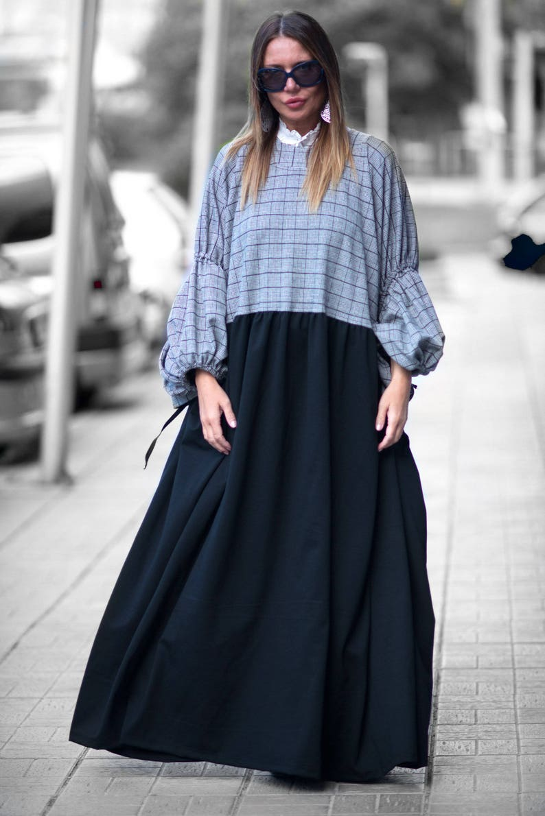 Plus Size Maxi Dress, Winter Extra Long Dress, Plus Size Cotton Dress, Long  Dress for Women, Casual Dress, Winter Dress by EUG - DR0144PM