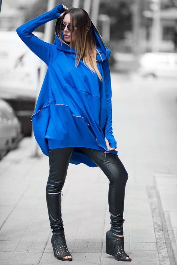2336efdc6fd Hoodie dress plus size Royal Blue Maxi Tunic with Hoodie