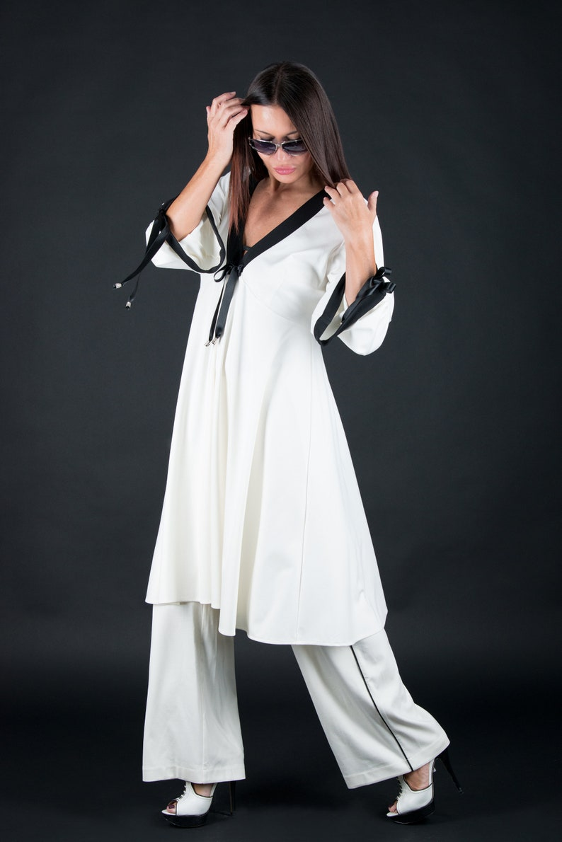 White Loose Dress, Plus Size , Wide Leg pants, Loose Fit Dress, Cotton  Tunic, Palazzo Pants, Loose White Cotton Dress - SE0221PM