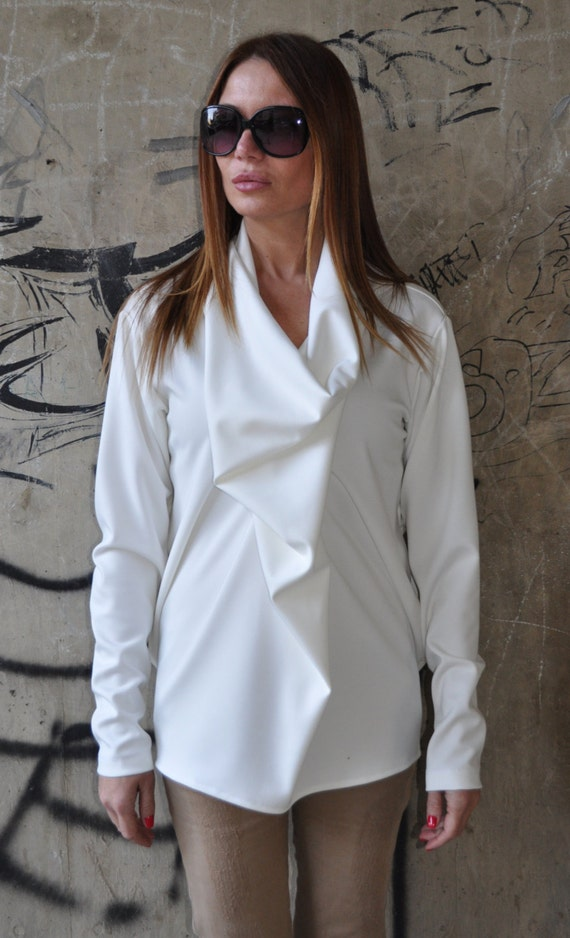 Casual Plus Dress Casual Extravagant Size Party Blouse Tunic TU0461PM Long White Oversize Loose Top Sleeve Womens Top Summer qAttwg