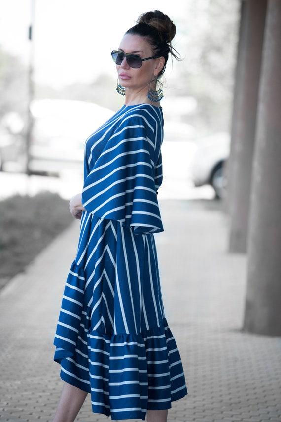 Prom Dress dress Dress Cotton Summer Maxi Women DR0788CV for Dress Dress Dress Flounces Marine Women nvzqSpaxx
