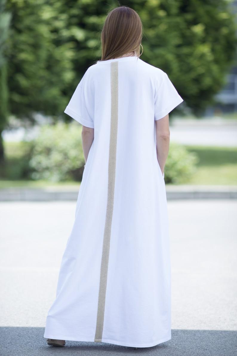 9fe4d33180cb Women Short Sleeve Loose Plain Maxi Dress with Pockets | Etsy