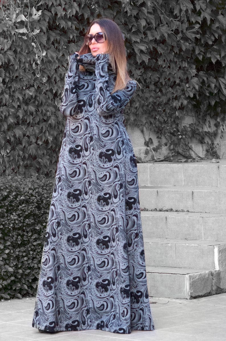 9bc58efc97ec Autumn Black and Grey Turtleneck Maxi Dress Long Sleeves Maxi   Etsy
