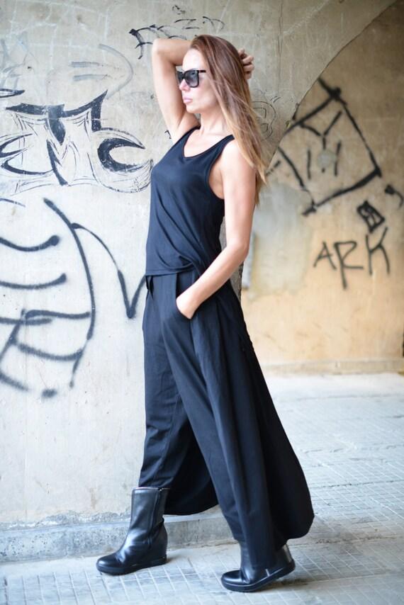 Cotton Crotch 0793TRCT size EUGfashion by Long Black Pants Trendy Skirt plus clothing Pants Harem Loose Trousers Drop 0pqaCC