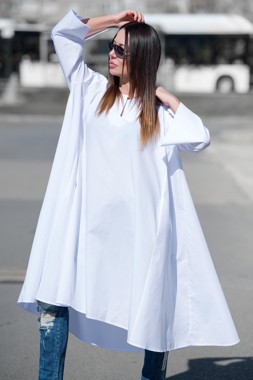 Extravagant White Loose Maxi Tops Women Plus Size Tunics   Etsy