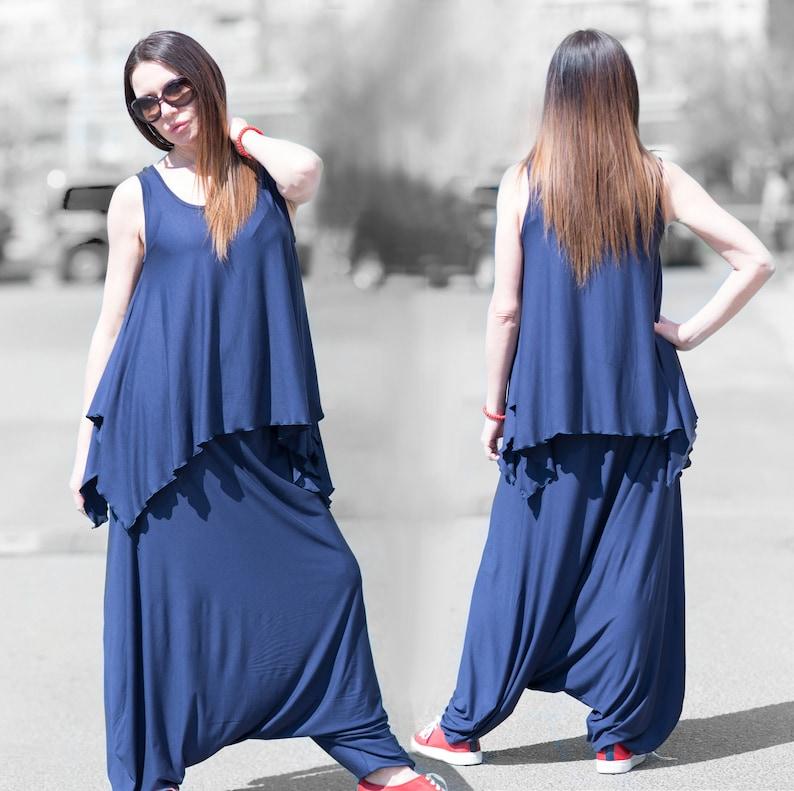 Women Sport Cotton SetNavy Blue Harem Pants and TopsSports Cotton SetDrop Crotch PantsBlue Loose Shirt by EUGFashion SE0452TR