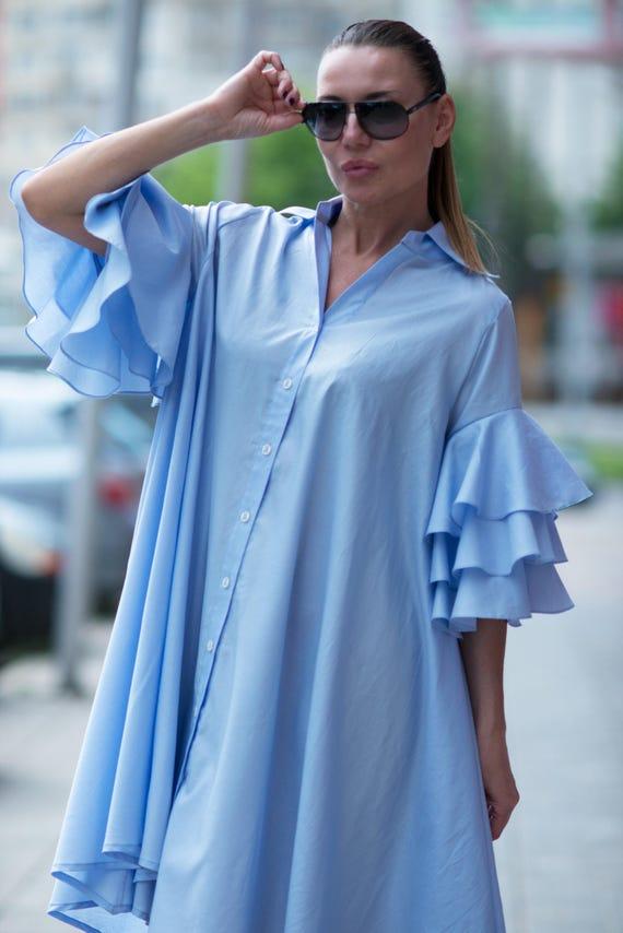 Navy Party Maxi Summer Dresses Blue Size Cotton Length Dress wear Dress Women Dress Mid Plus Dress Day Loose Dress DR0168CT rXqrnxZTg