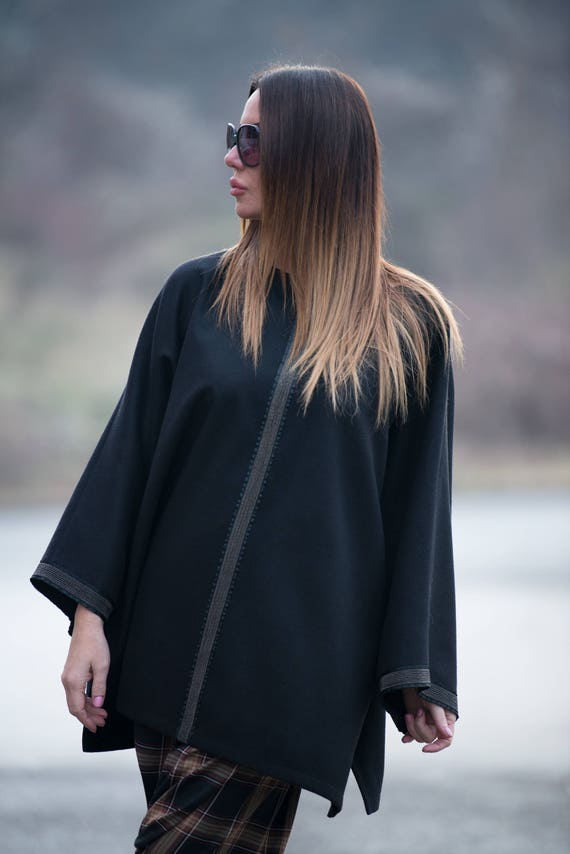 Winter Cashmere EUG by PN0423Ca Black poncho poncho winter FASHION Over Plus Poncho cloak Size poncho Women sized PwCqdTRw
