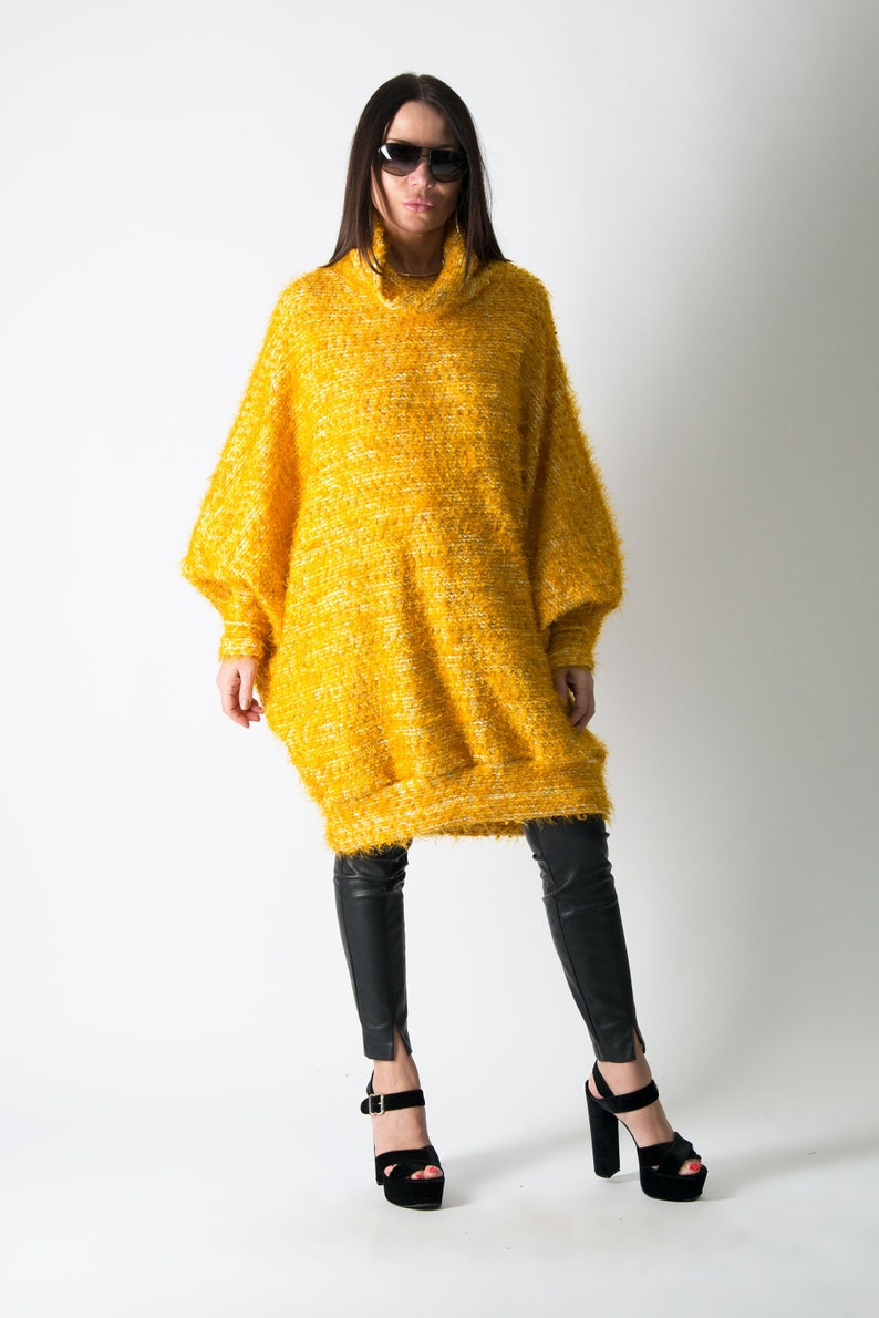 Loose Knit Sweater Long TP0570CK Mustard Sweater Yellow Sweater Plus Size Clothing Winter Sweater Women Sweater Cowl Neck Sweater