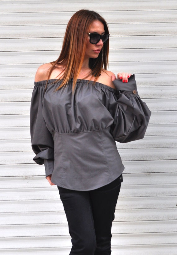 Grey Top Top Clothing Summer Top Top Blouse Off Cotton Shoulder Cotton Shoulder Summer Top Oversize SH0477CT Women's Off Loose wBxqtCFOP