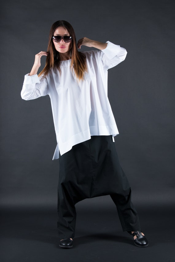 Harem by Casual Pants Trousers Harem Pants Cotton Harem fashion Pant Crotch Loose PA0789CT EUG Drop Pants Maxi dress Black Summer SaqnztRxg
