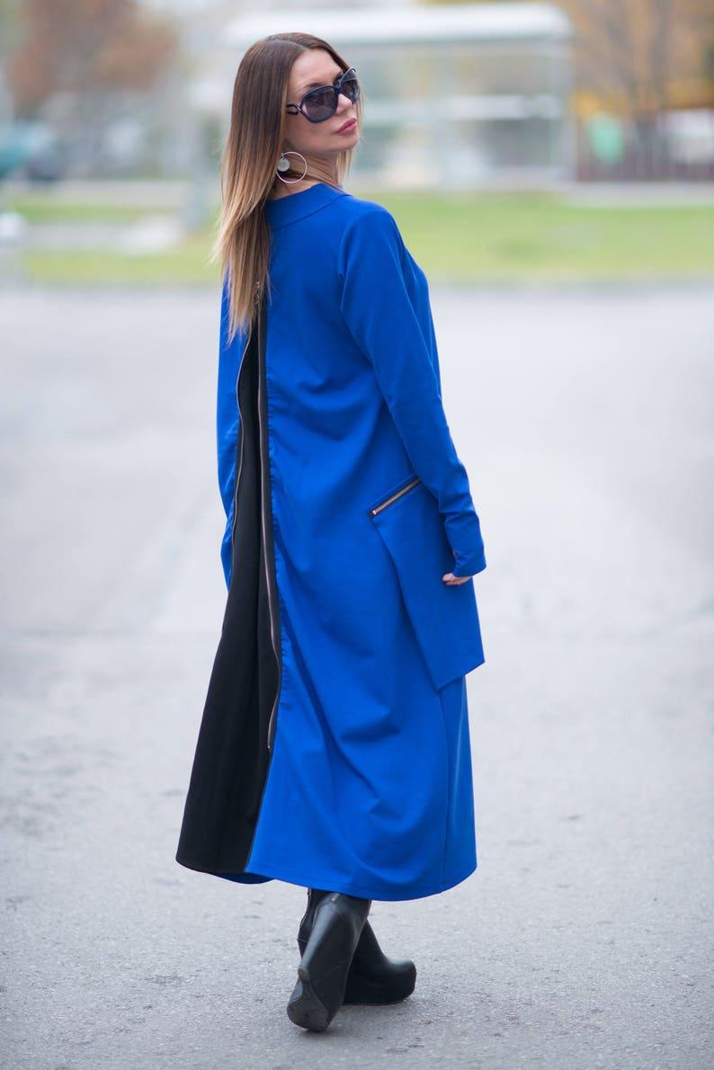 Women kaftan dressLong Kaftan dress with Big PocketsBlue Zipper DressMaxi Cotton DressPlus Size Dress women dress by EUG DR0137PM