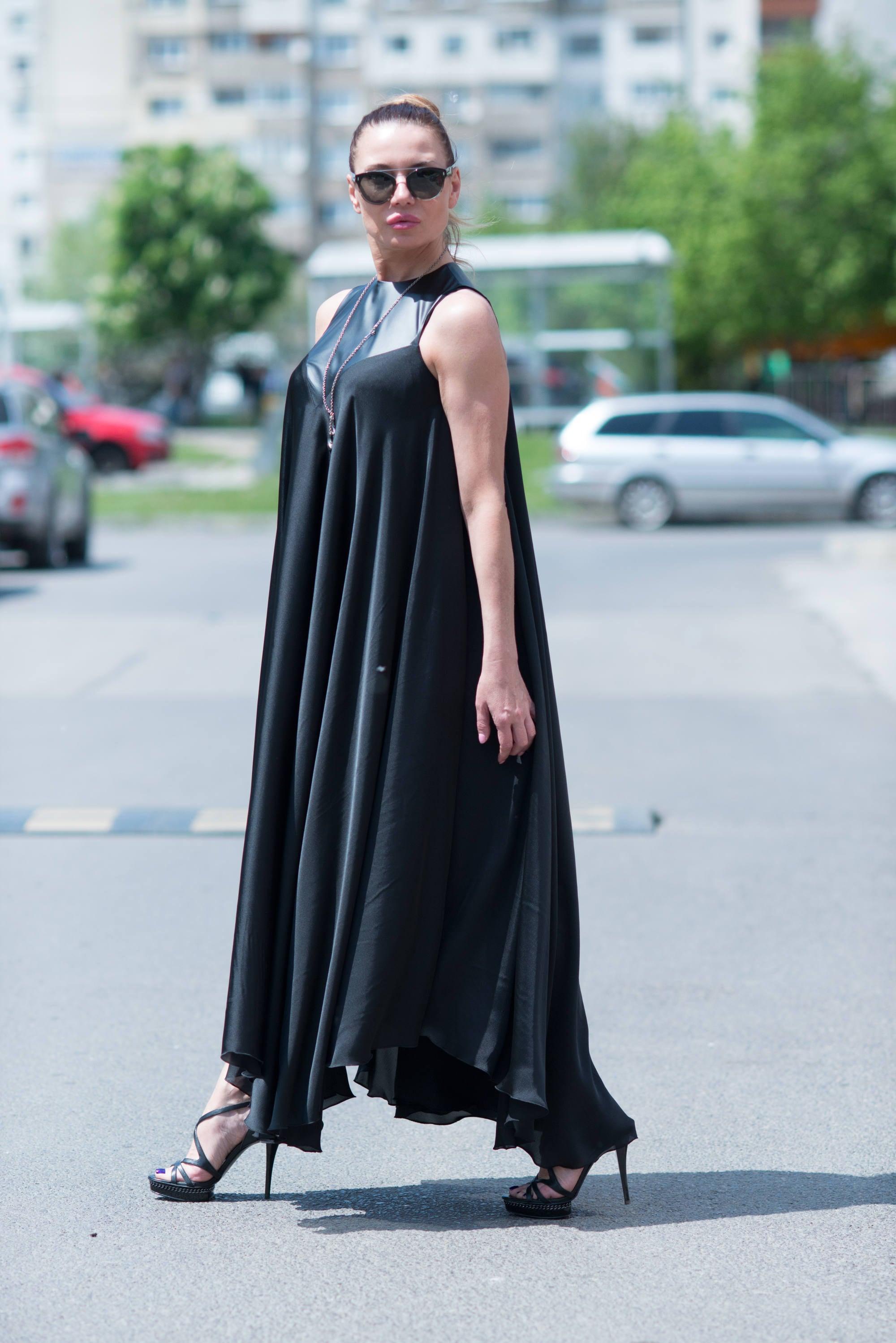 Black Maxi Dress, Satin Kaftan, Summer Dress, Party Dress, Kaftan ...