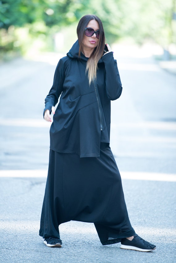 Vest Plus vest Maxi Women Oversize Vest EUG Zipper Dress women vest FASHION Plus by Size VE0101PMCK Black Vest Size Loose Zipper C6xOgwqqn