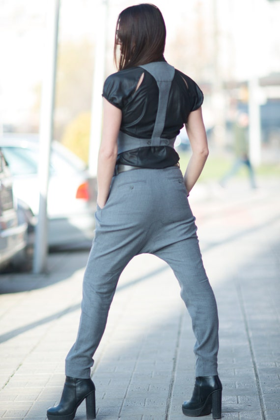 Wool Crotch Drop by EUG Pants Pants Extravagant SE0642Cw Harem FASHION Autumn Pants Grey Warm Loose Casual 0qUd0Y