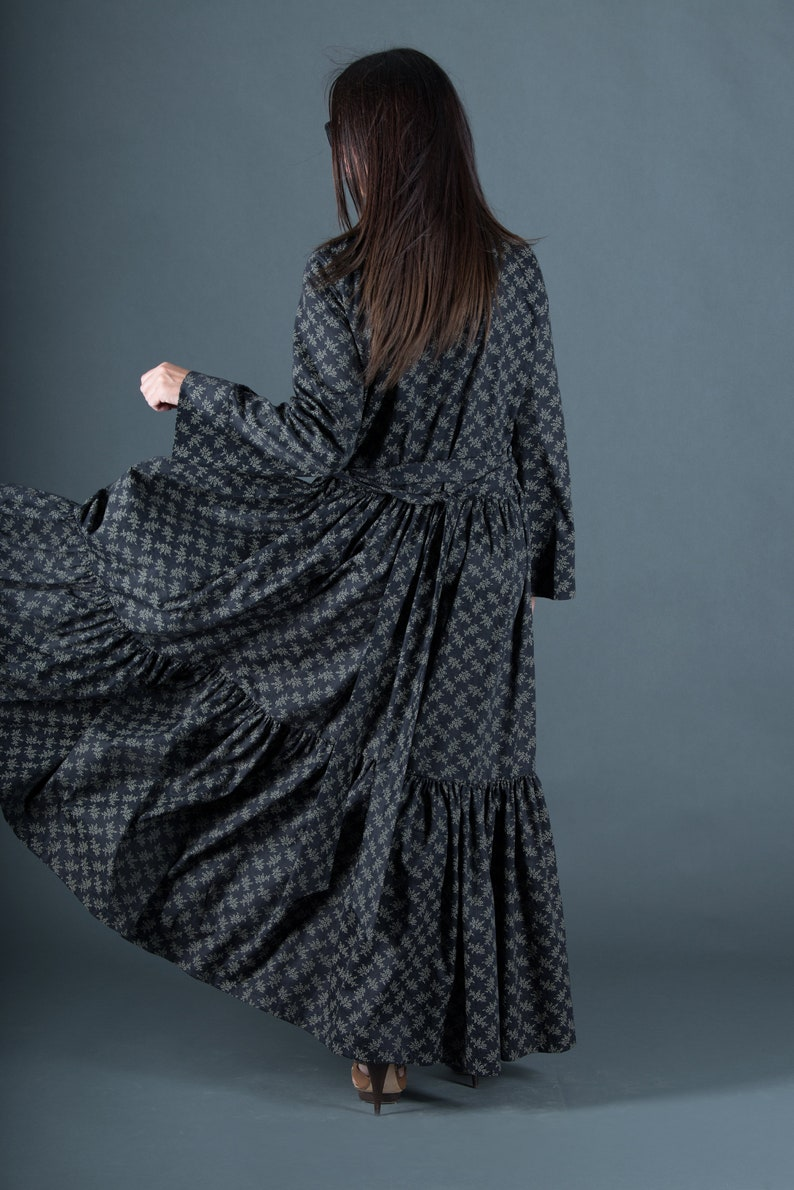 c4ad69e794d Black Abaya Dress Black Cotton Woman Flounces Kaftan Maxi