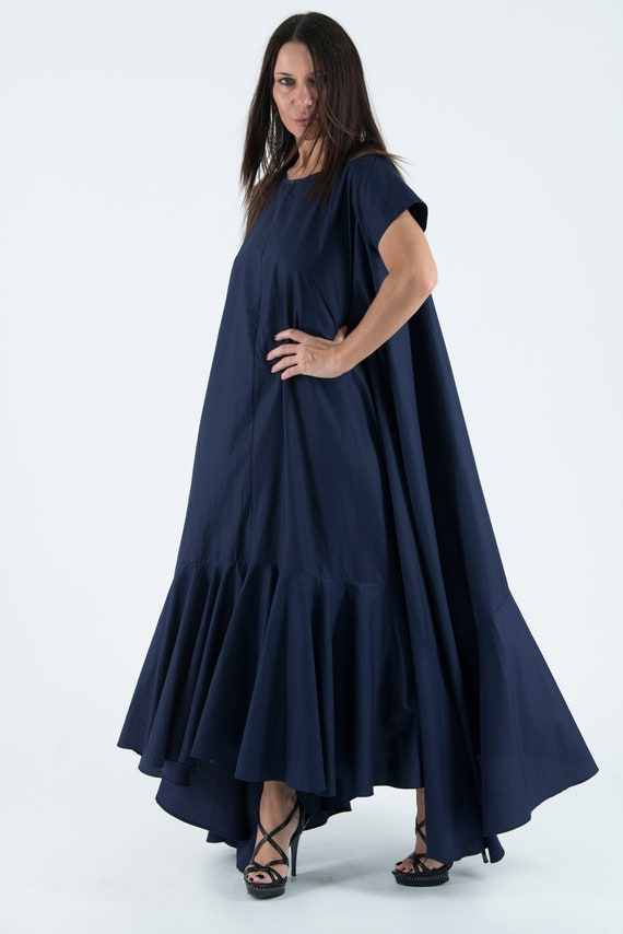 Summer wedding dress/Summer Dress/Dark Blue Maxi Dresses/Plus size clothing  4x/A Line dress/Plus Size Loose Dress/ DR0760CT