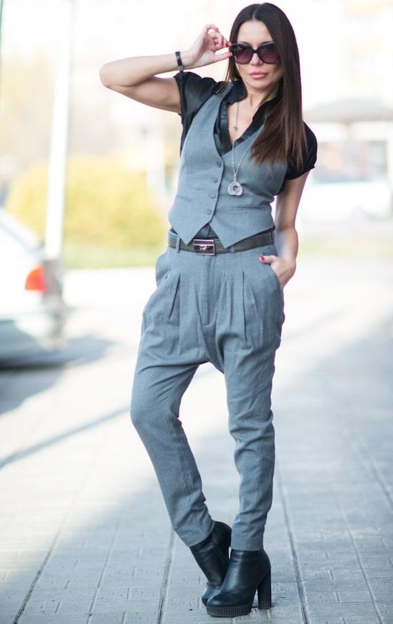 by Elegant SE0642CW Wool Pants Vest Grey Wool EUGFashion Waist Wool Drop Elegant Set Crotch Women Grey Vest Harem ATWwxZT