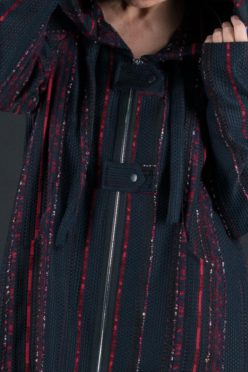 Womens coatBlack Wool Knitting Women Elegant SetBlack Hooded Zipper CoatDrop Crotch Harem PantsWool Vest by EUGFashion SE0676WB