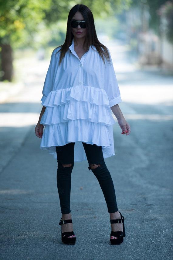 Maxi Oversize White Flounce Top Cotton Dresses Womens for Size Plus Dress Tunic Cotton Tunic Womens Shirt SH0214CT Summer Top w1qwZz
