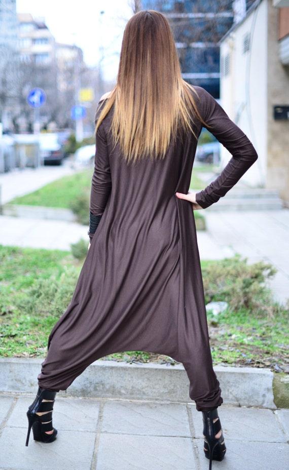 Women Union Casual Jumpsuit Sleeves Jumpsuit Brown Jumpsuit Cotton Jumpsuit Suit Dark Harem JP0350TR Long Loose for 8nX8zR