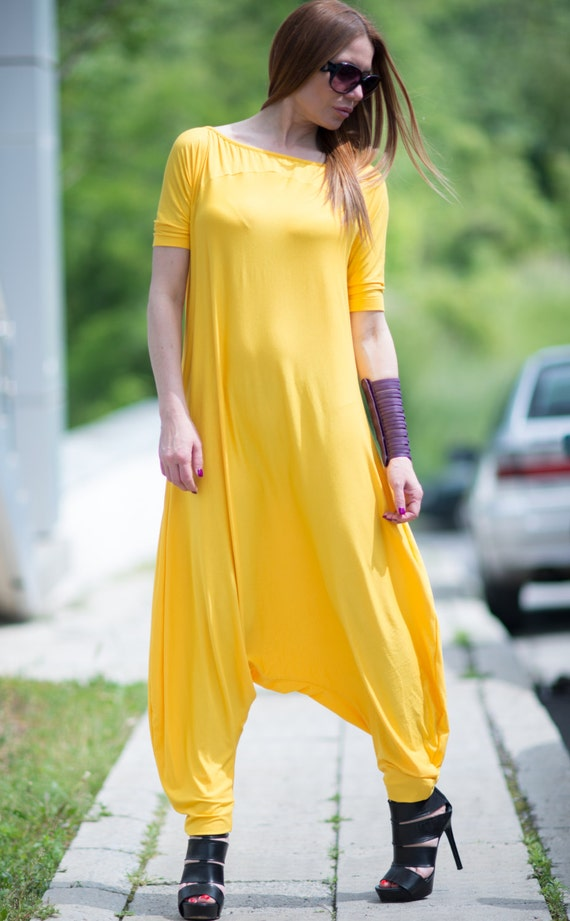Plus Size Maxi Jumpsuit, Yellow Short Sleeveless Jumpsuit, Cotton Union Suit, Drop Crotch jumpsuit by EUGfashion - JP0379TR