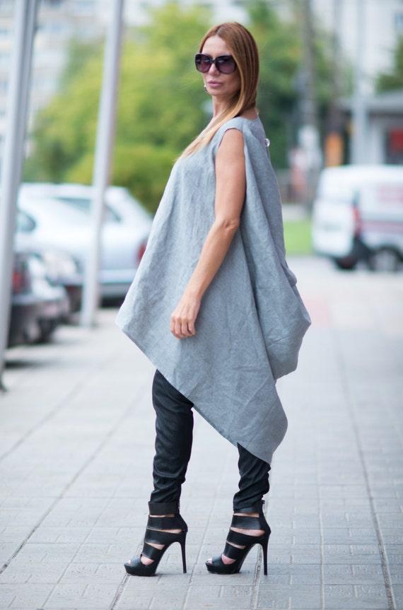 TU0475LE size Clothing Linen Casual Tunic Light Tunic Grey Tunic Plus Maxi size FASHION by Linen Plus Tunic EUG Grey Dress Asymmetric 6qqwIXR