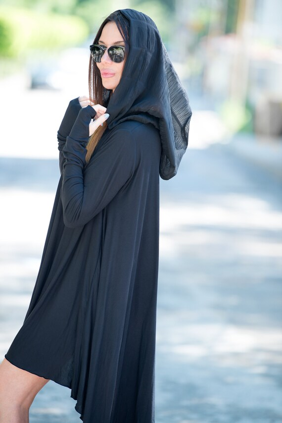 Hooded Black Size Oversize Women's Top Dress Hooded Black Women's Maxi Women TU0607TR Hooded Top Top Cotton Free Dress Top Black for nFqwUIa