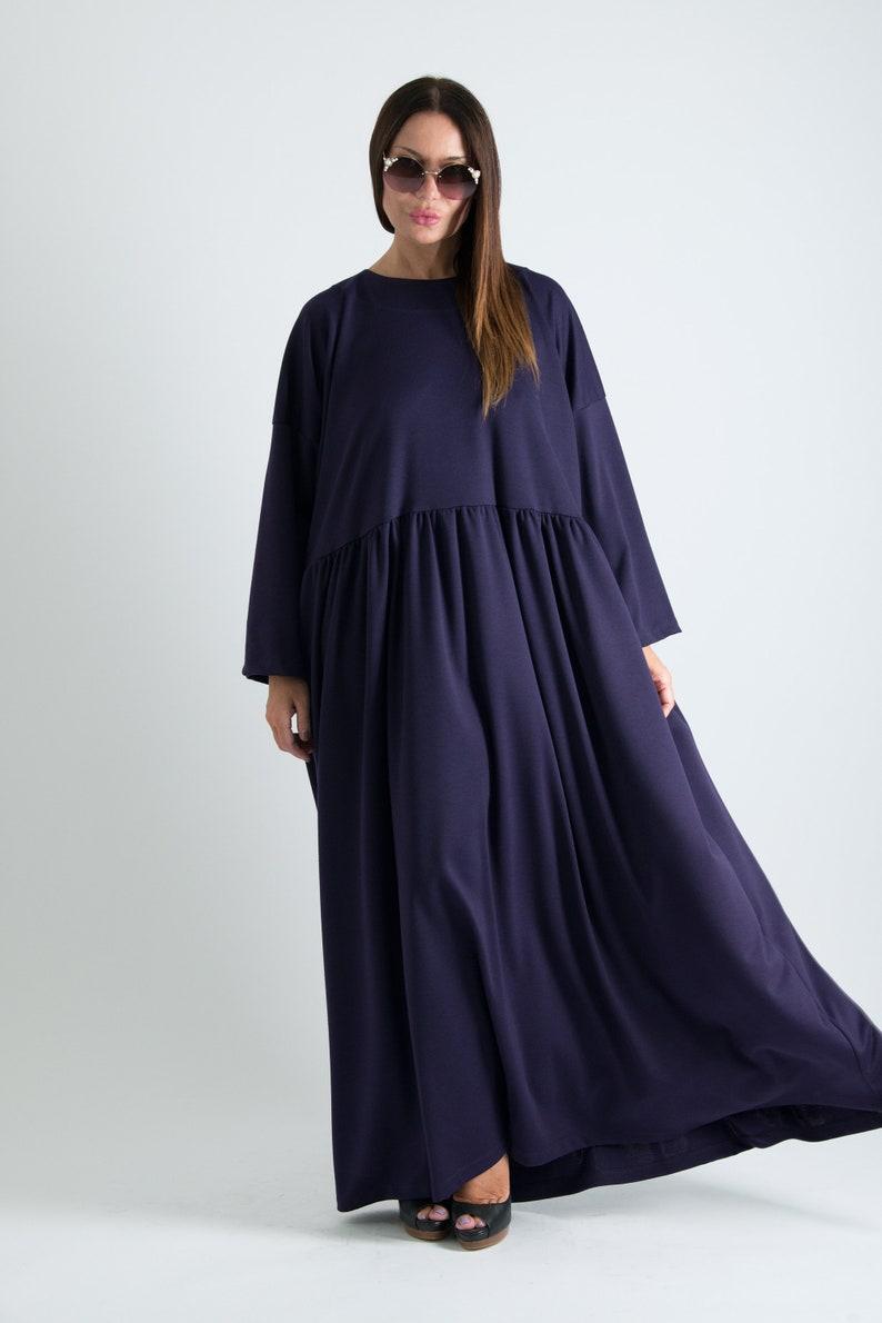 Purple Autumn Dress, Plus Size Maxi Dress, Winter Extra Long Dress, Plus  Size Cotton Dress, Long Dress for Women by EUG - DR0610PM