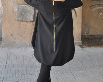 Extravant Golden Zipper Black Dress/Cold Wool Dress/Black Maxi Dress/Goth Loose Black Top/Long Sleeves by EUGfashion/ TU0549STR