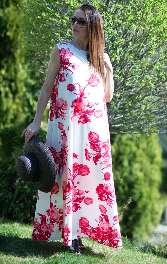 Maxi DR0196CT Dress Flower Plus Dress Dress Dress Sleeveless Women White Size Maxi Loose Cotton Dress Evening Dress Summer Party U1HqUd
