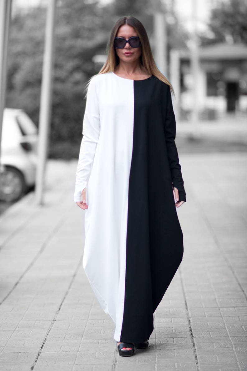 Clothing Autumn Black and White Maxi Dress Woman Plus Size   Etsy