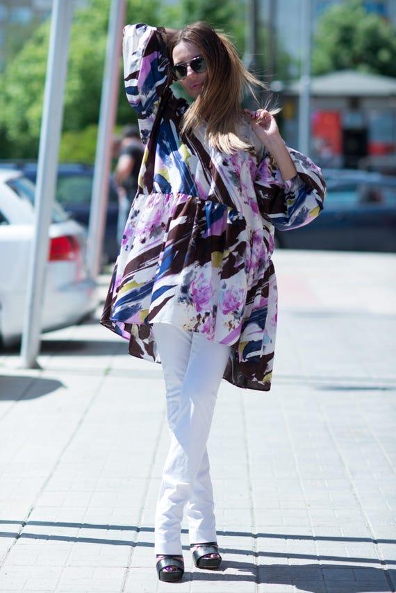 Woman Top Tunic Loose Maxi Flounces Summer by Top TU0426CT fashion EUG Women Purple Asymmetric Top Oversize Top qSgHgvzw