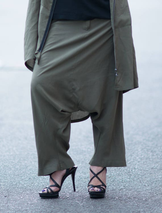 Harem women Harem Green Pants Cotton Women Pants Crotch Pants Loose Women Military for Pants Camo Drop PA0757CV Trousers clothes wqAapO0