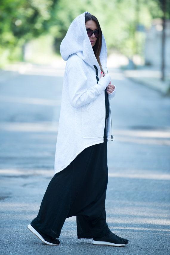 White Tracksuit for women, Hooded women Zipper Sport Jacket, Winter Melange hoodie, Hooded Sweatshirt With side Pockets by EUG - TP0710W3