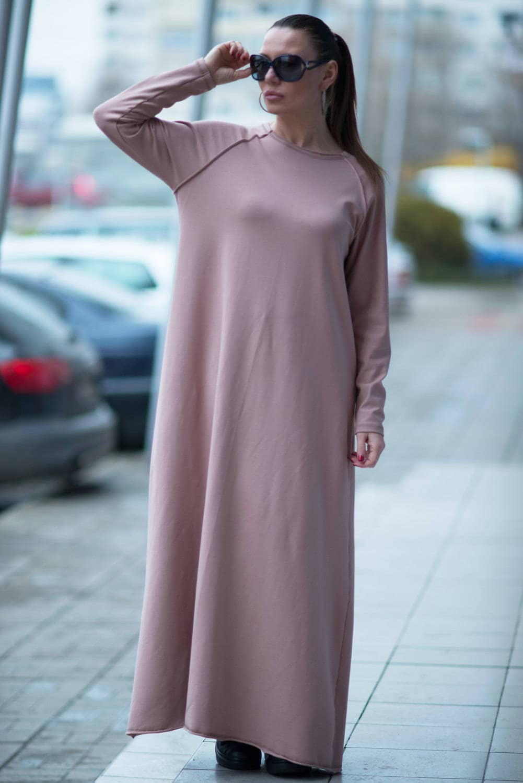 Autumn Plus Size Maxi Dress, Extra Long Beige Dress, Beige Cotton dress,  Maxi Kaftan, Maxi Beige Dress by EUGfashion - DR0082W2