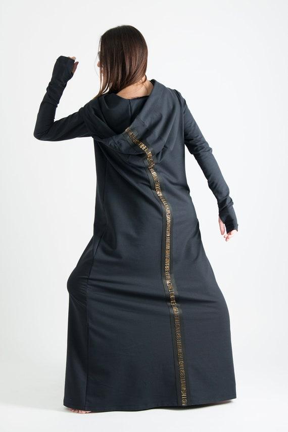 Autumn Black Hooded Maxi Dress Plus Size Cotton Kaftan Etsy
