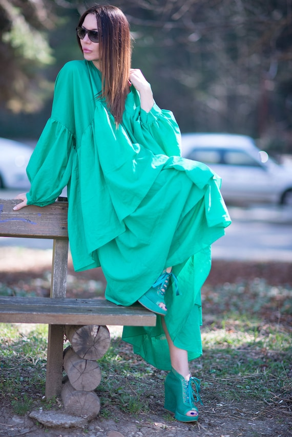 Summer cotton Flounces Size dress Dress Woman Long DR0179CT maxi unique Maxi Dress Green Dress dress Women Women Plus Dress Party w6vTnPq