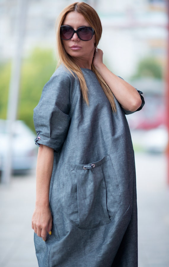 Dress Short Maxi Pocket With Plus Maxi Tunic Women Kaftan Dress Trendy Clothing Linen Maxi DR0211LE Sleeves Big Size Elegant Dress xw0YqyaI