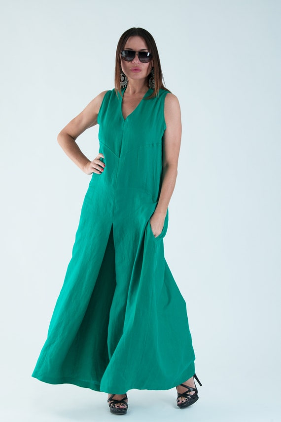 summer Wide Jumpsuit Linen Plus dress Jumpsuit JP0346LE Crotch clothing size by Drop Linen Woman EUGfashion Green dress Jumpsuit HxEp1EBXn