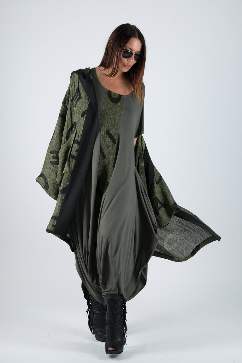 3564c82a56e7 Military Green Harem Jumpsuit Casual Jumpsuit Long Hooded