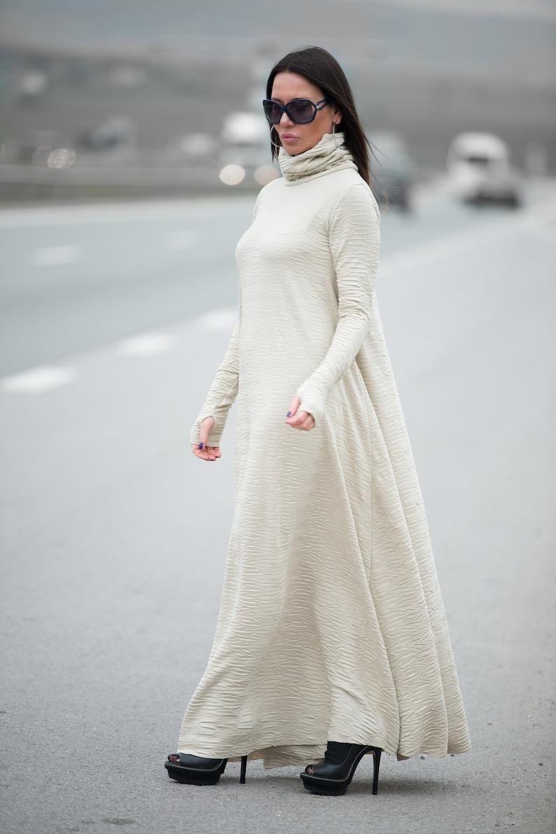 Loose Maxi Dress Turtleneck Dress Abaya Dress Long Sleeve image 0