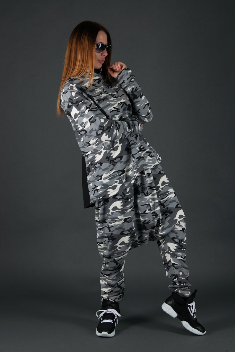 Urban Clothing Camoflauge Set Women Military Outfit Modern Outfit Army Outfit Harem Pants Set Winter OutfitSE0692W2 Camoflauge Outfit