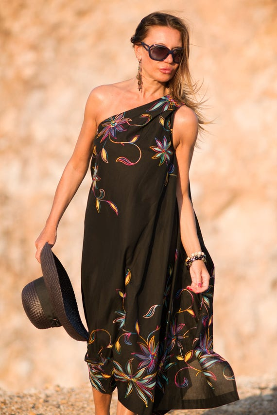 Plus Kaftan Cotton Size Kaftan Black Dress Shoulder Dress Dress Dress Dress DR0177CT Kaftan Long Black One Summer Loose Dress aYnZxZf