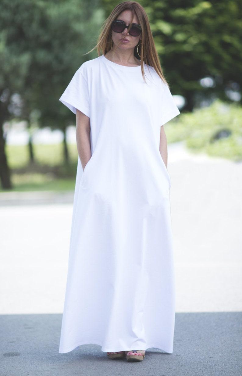 White Party dress womenWomen Short Sleeve Loose Plain Maxi Dress with PocketsDay Wear DressPlus Size Casual Cotton Dresses  DR0113W2