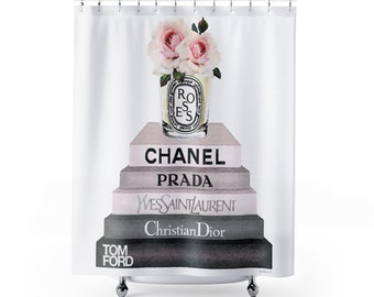 Shower Curtain Fashion Books Roses Candle Make Up Illustration Fashionista Designer Bathroom
