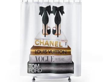 Shower Curtain Fashion Books Shoes Gold Make Up Illustration Fashionista Designer Bathroom