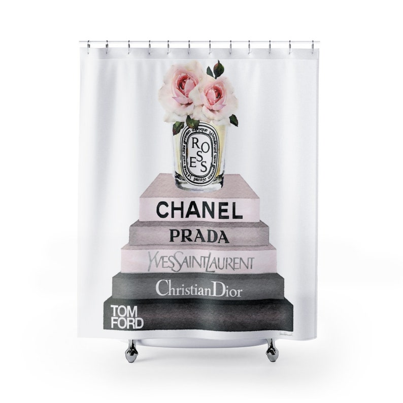 Shower Curtain Fashion Books Roses Candle Make Up