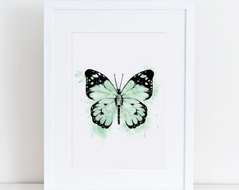 Butterfly, mint, watercolor, A4, 8.5x11, mint watercolour, butterfly print, butterfly wall art, butterfly art, modern art, painted butterfly