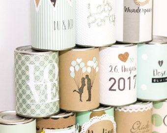 Dosenwerfen als Hochzeitsspiel - individuell gestaltetete Wedding Cans